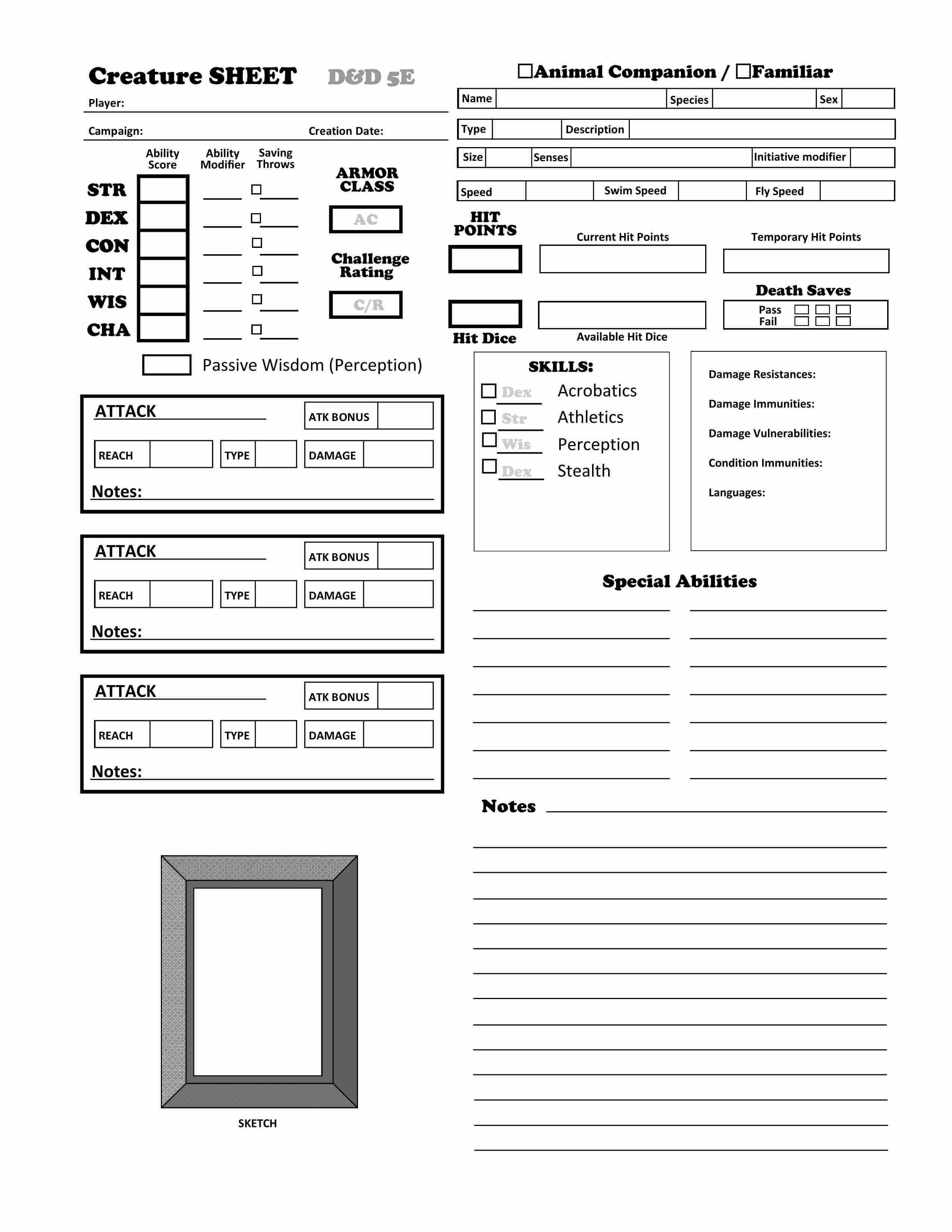 Https Olddungeonmaster Files Wordpress Com 2014 08 5 0 Crs Animal Sheet Rrh1 Jpg Animal Companions Pathfinder Character Sheet Dnd Character Sheet