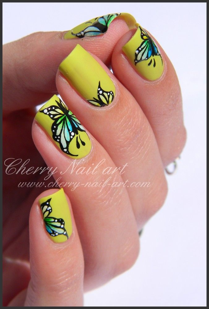 Nail Art Papillons Peinture Aquarelle Degrade Acrylique Printemps