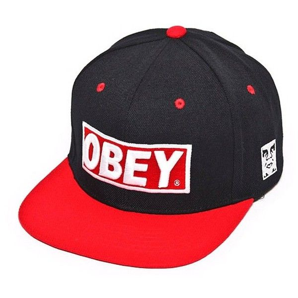 Obey Snapback Hat Black Red Green Baseball Cap (Black Red) ... ❤ liked on  Polyvore featuring accessories bc469c0fae8