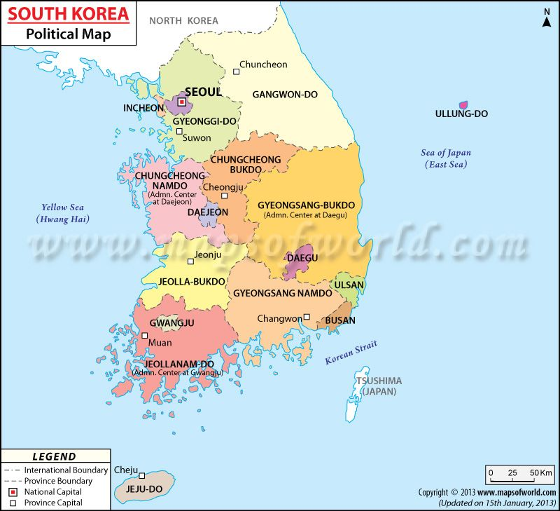 Political Map Of South Korea Life In Korea Pinterest South - World map and their capitals