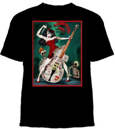 Horrorpops- Cartoon Stand Up Bass And Ghouls on a black shirt