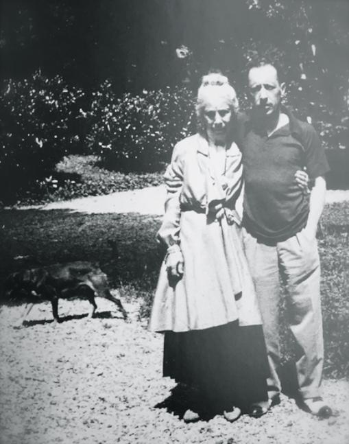 Igor Stravinsky in the garden with his mother