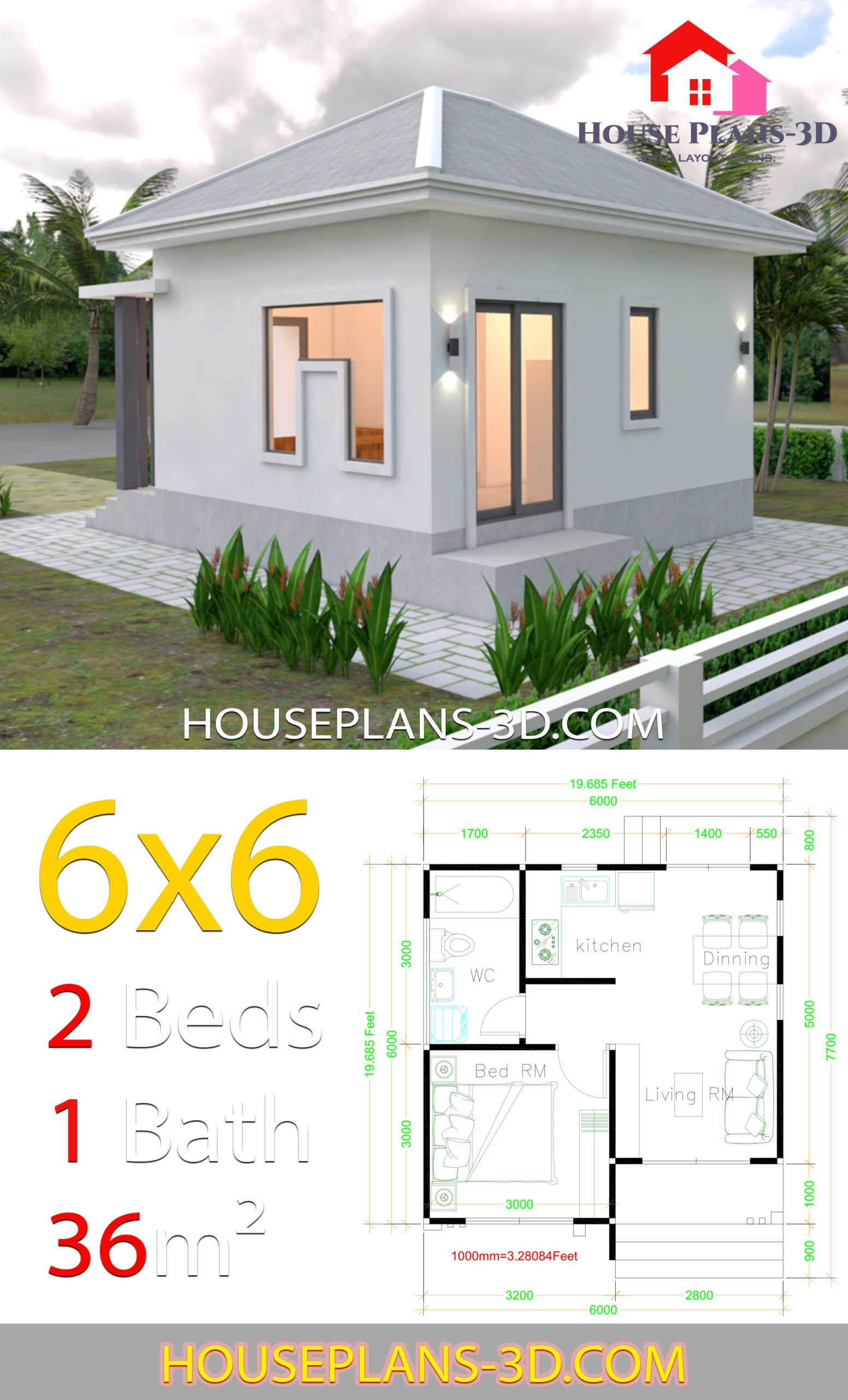 House Plans 6x6 With One Bedrooms Hip Roof One Bedroom House House Roof Small House Design Plans