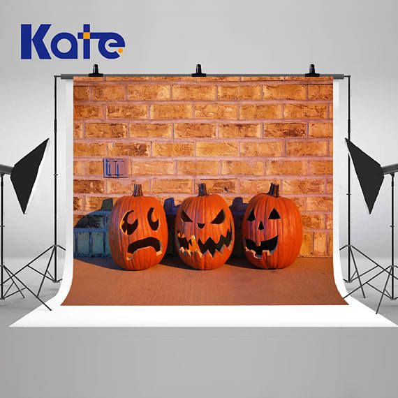 Night Halloween Pumpkin Brick Wall Photography Backdrops Easter - halloween backdrop