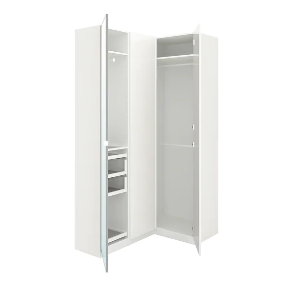 Pax Corner Wardrobe White Fardal Vikedal Ikea In 2020 Corner Wardrobe Pax Corner Wardrobe Ikea