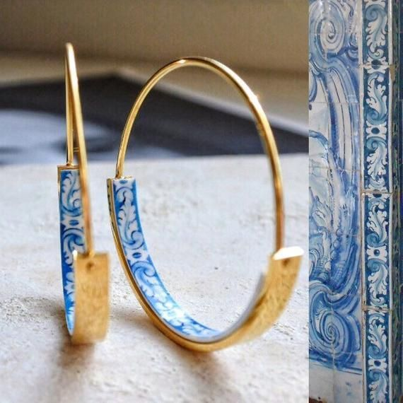 Hoops Earrings Hoop Atrio Tile Blue Portugal STAINLESS STEEL Azulejo University of Evora Delicate 1 1/4 (3.18cm) Ships from USA gold tone #historyoftheworld