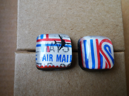 earrings made from vintage US airmail stamps