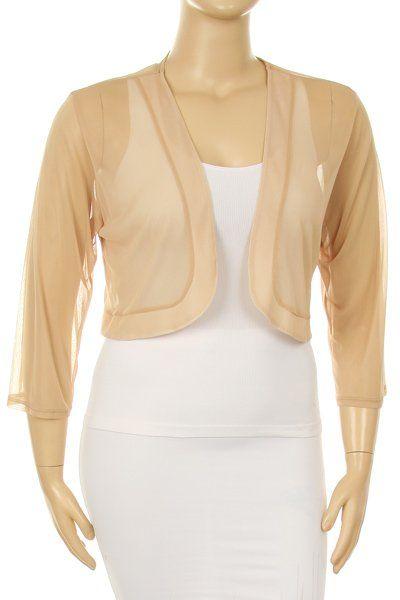 Sheer Bolero Chiffon 3/4 Length Gold Chiffon Bolero Jacket