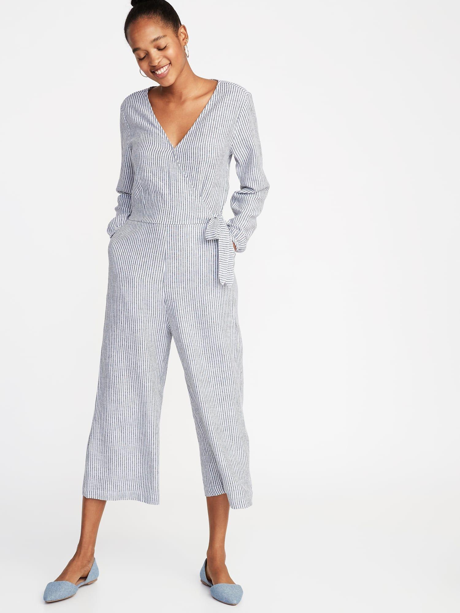 a40ad3b365b17 Waist-Defined Linen-Blend Striped Jumpsuit for Women in 2019 ...