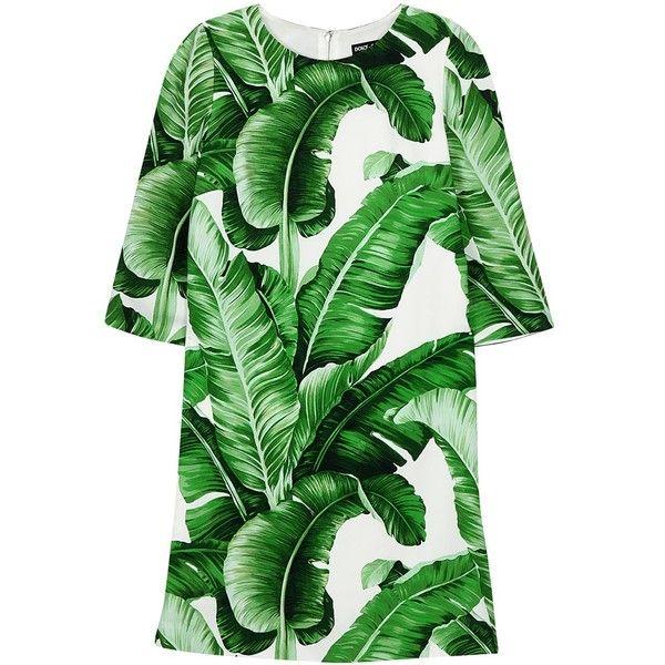 Dolce & Gabbana Palm tree-print crepe mini dress ($1,570) ❤ liked on Polyvore featuring dresses, palm tree print dress, green mini dress, palm leaf dress, green dress and lining dress