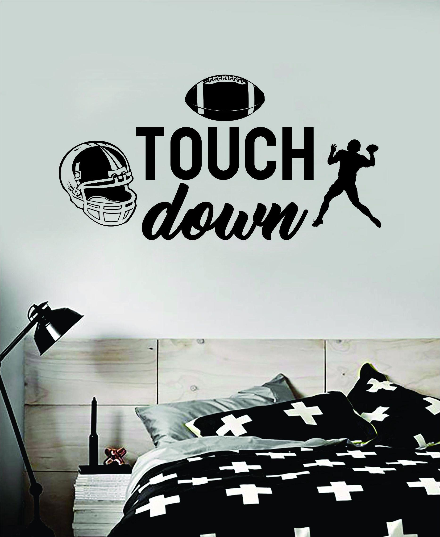 Touchdown Football Quote Decal Sticker Wall Vinyl Art Home Decor Inspirational Sports Teen American Kids - gold