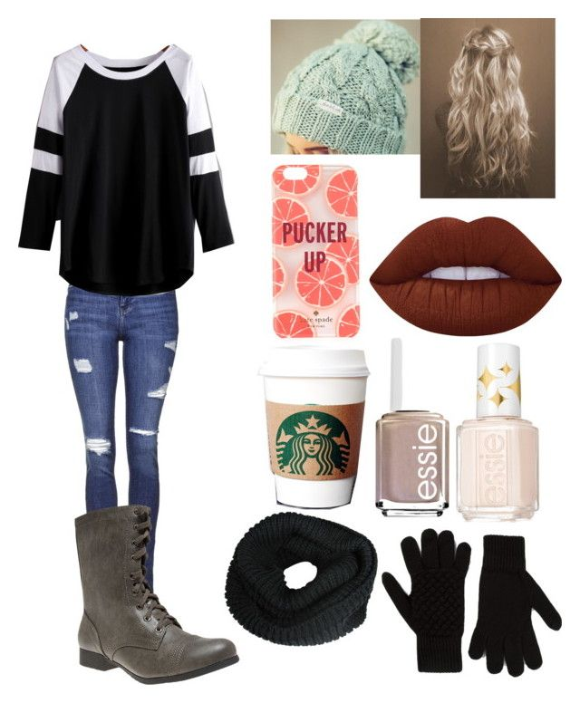 """""""Untitled #686"""" by lucy-smith-2 ❤ liked on Polyvore featuring Topshop, Wet Seal, Lime Crime, Kate Spade, Essie and Bottega Veneta"""