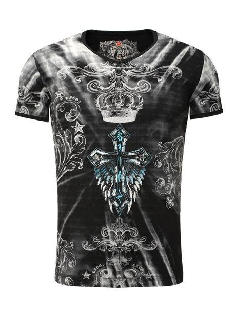 Kingz T-Shirt Strass Kreuz  schwarz