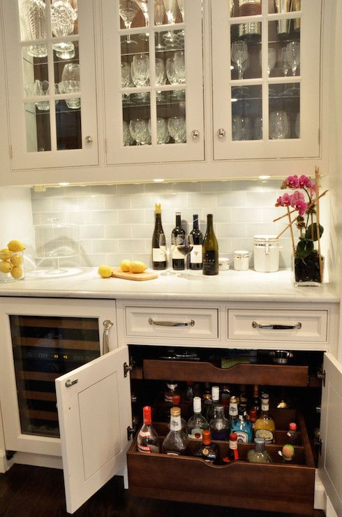 Deep pull out drawers transitional kitchen dearborn - Built in home bar ...