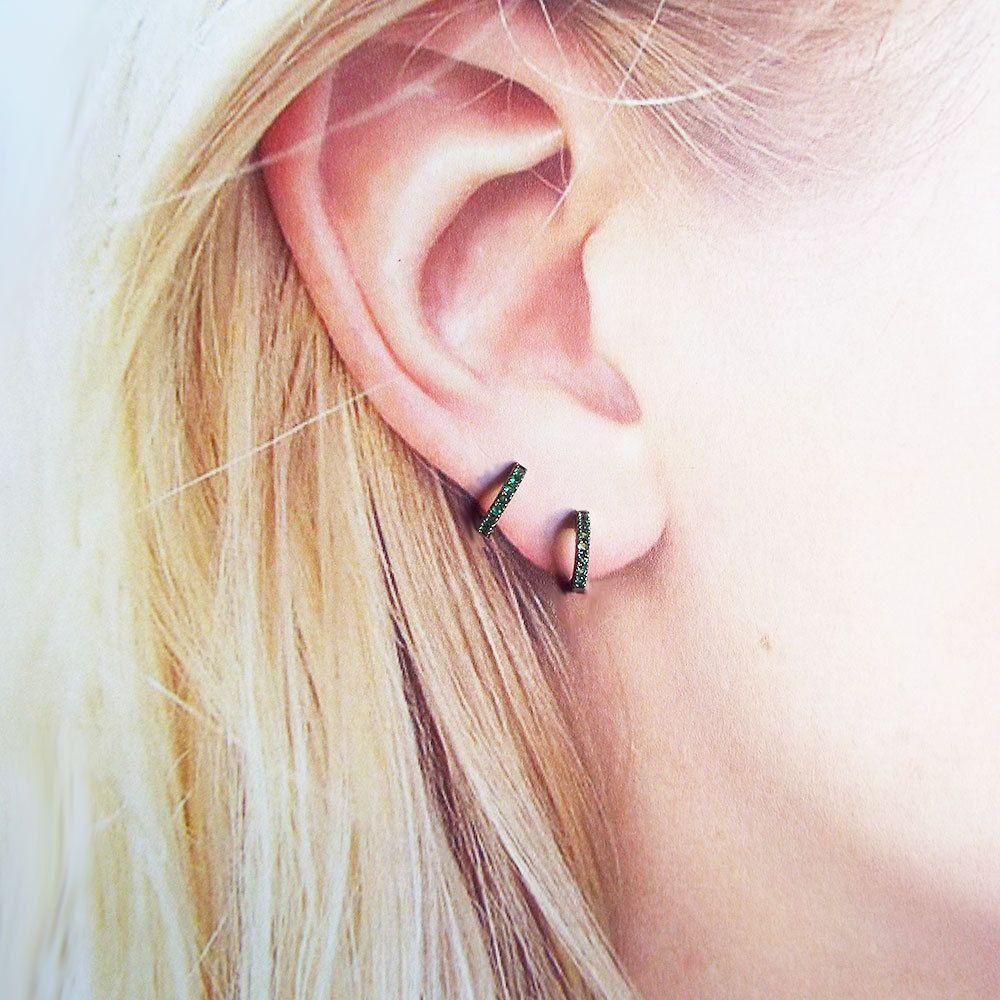 Emerald Green Dainty Huggies Cz Micro Pave Hoop Earrings Xs Huggies Gold  Plated Huggie Earrings Everyday