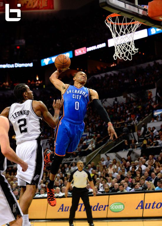 Russell Westbrook Throws Down An Emphatic Dunk In Game 5 Vs Spurs Westbrook Dunk Nba Mvp Russell Westbrook