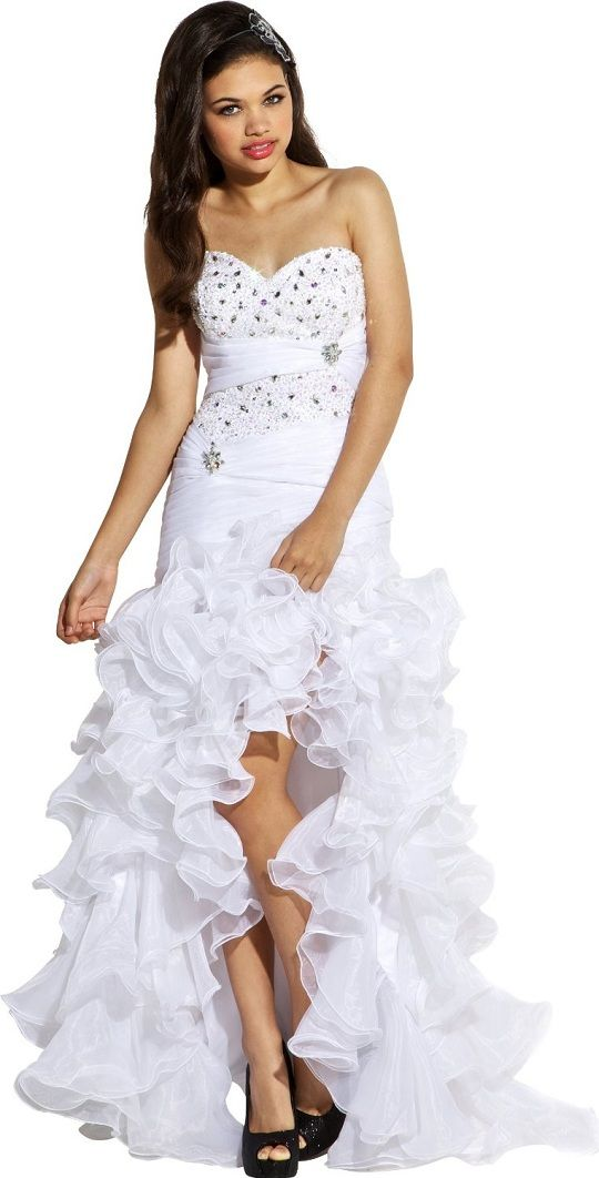 White High Low Formal Dresses for Juniors