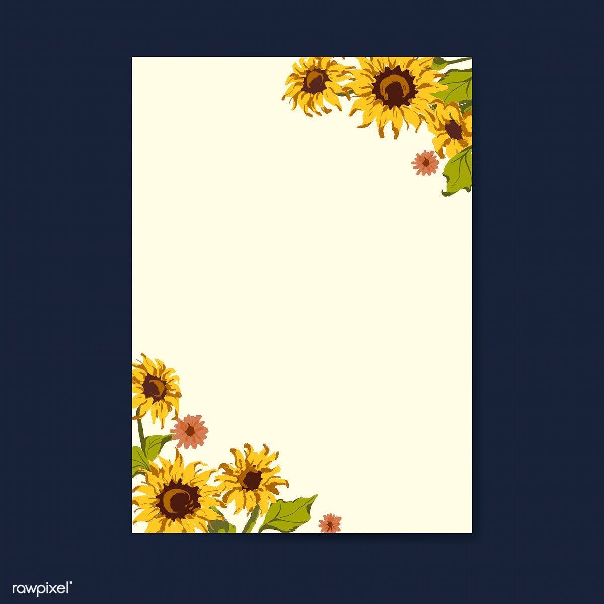 Blank Sunflower Invitation Card Mockup Vector Free Image By Rawpixel Com Sicha Sunflower Cards Sunflower Invitations Flower Cards