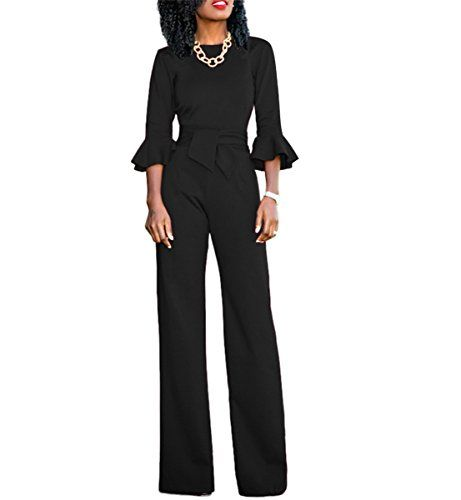 762d8a0412 Chic-Lover Women s Flare Sleeves High Waisted Wide Leg Jumpsuits Rompers  with Belt