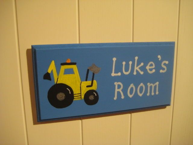 Personalised Wooden Childrens Digger Bedroom Door Plaque