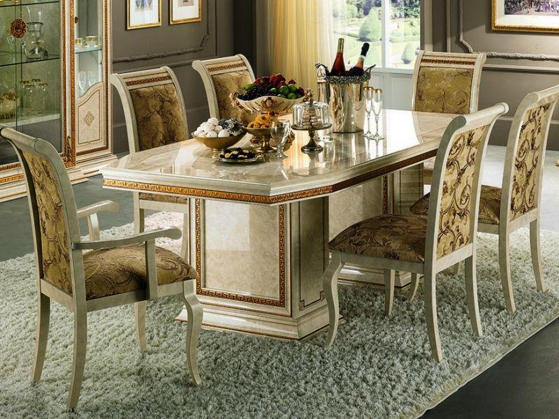 Wohnzimmertisch Barock ~ Tisch im barock stil in weißer farbe mit goldkanten espacios