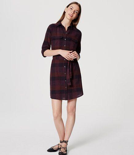 a1e1bebda5 Image of Petite Plaid Tie Waist Shirtdress