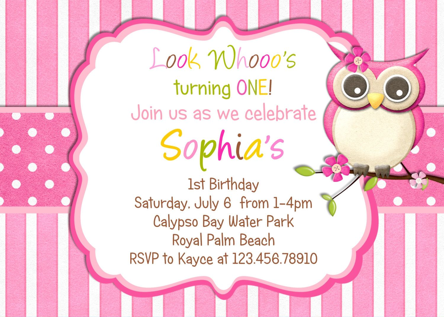 Little Owl Birthday Invitation - Pink Girl Owl Theme Party Custom ...