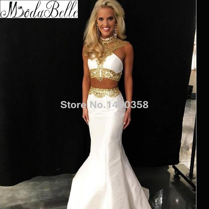 Sexy Long Backless Mermaid White Gold Prom