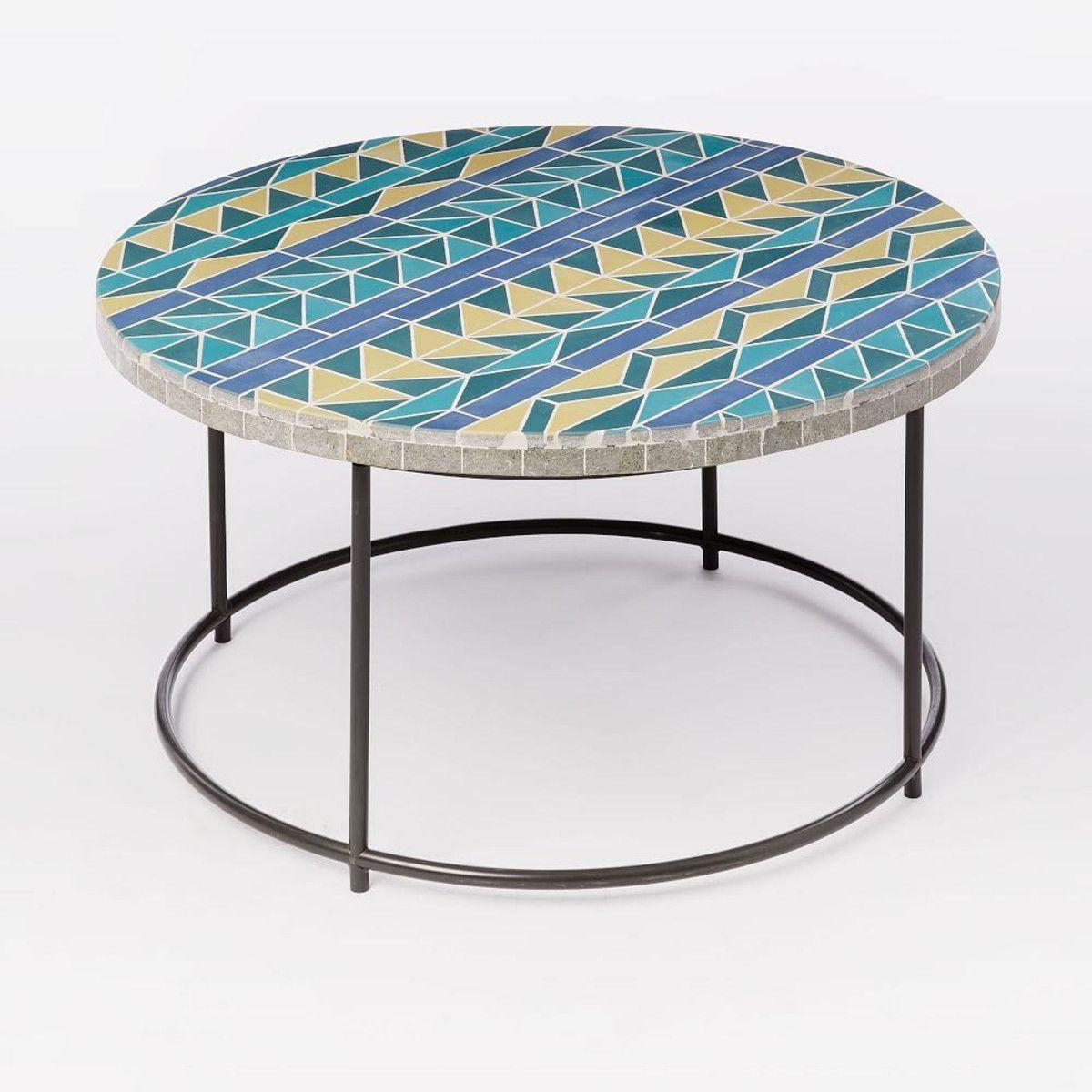 Mosaic tiled coffee table multi triangle metal base west elm uk