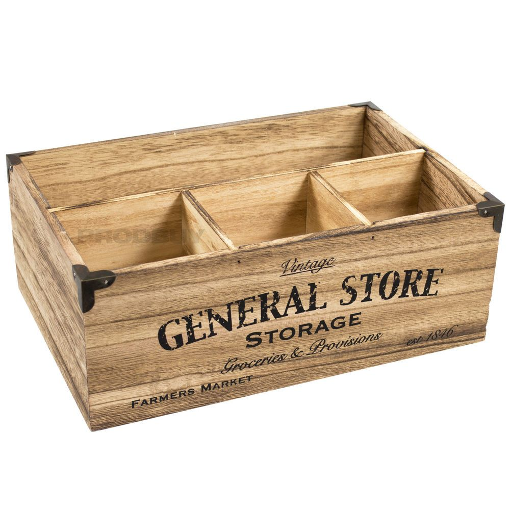 4 Compartment Vintage Wooden Crate Storage Box Milk Bottle