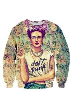 4520ed23f Womens 3D Frida Kahlo Daft Punk T Shirt Green Printed Sweatshirt ...