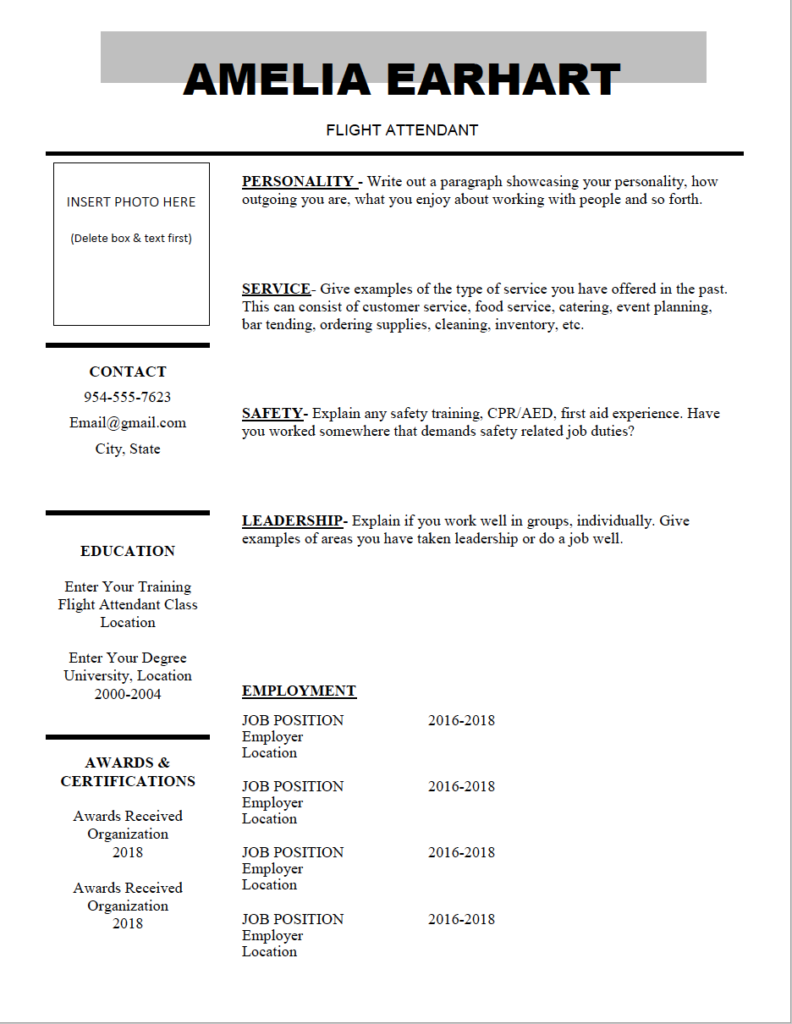 Downloadable Flight Attendant Resume Template 12 For The Docx Document Where You Can Freely Edit To Create A Killer