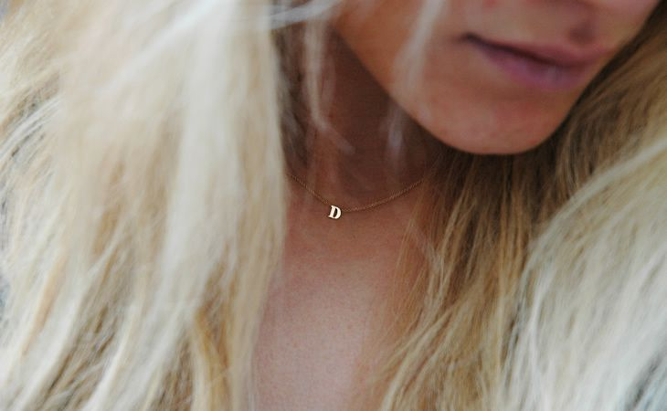 I want a teeny initial necklace.