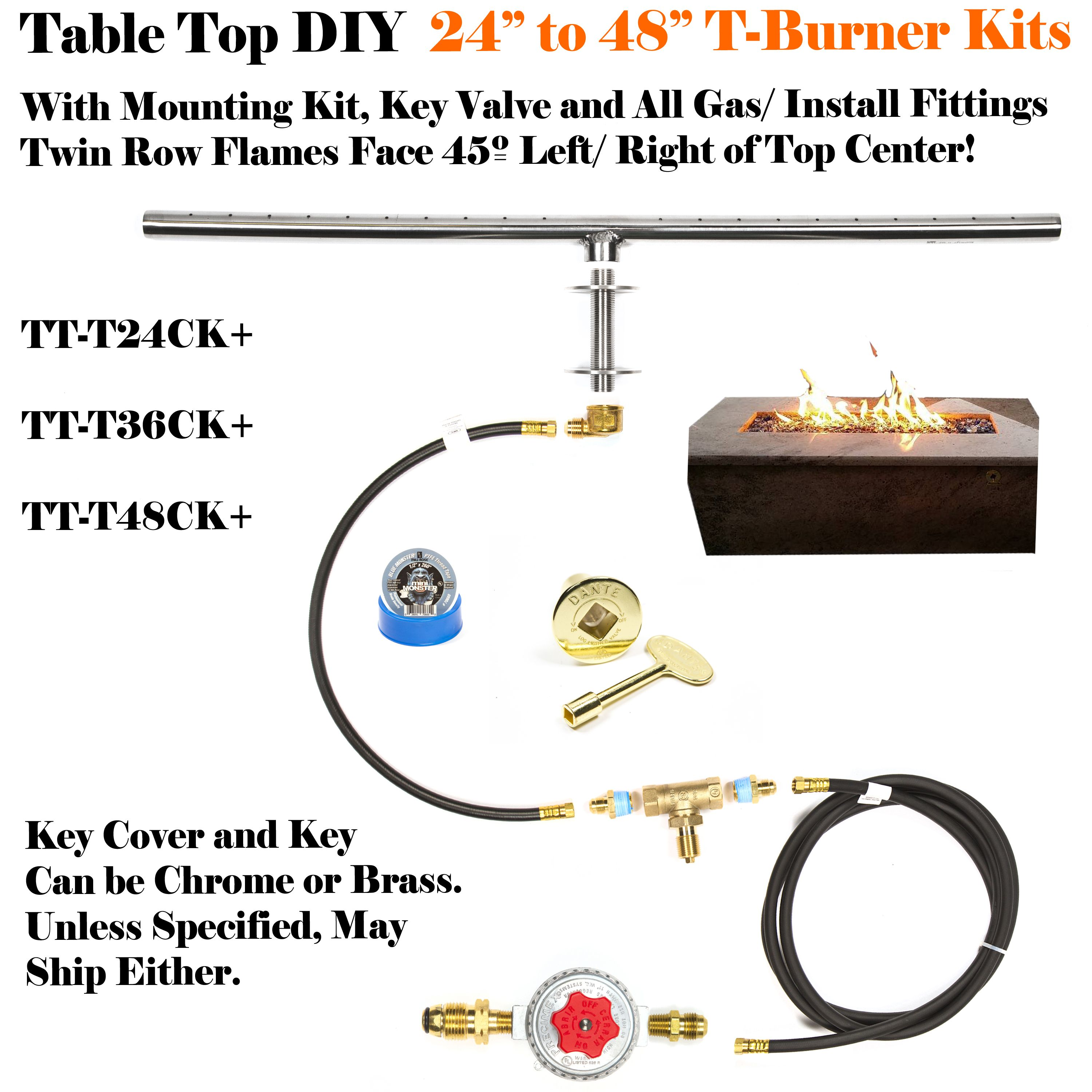 t24ck diy deluxe propane fire pit kit 24 linear 316 stainless t