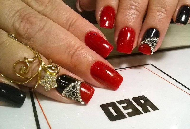 Nageldesign Schwarz Rot Acrylics Nail Art Red Nail Art Nail