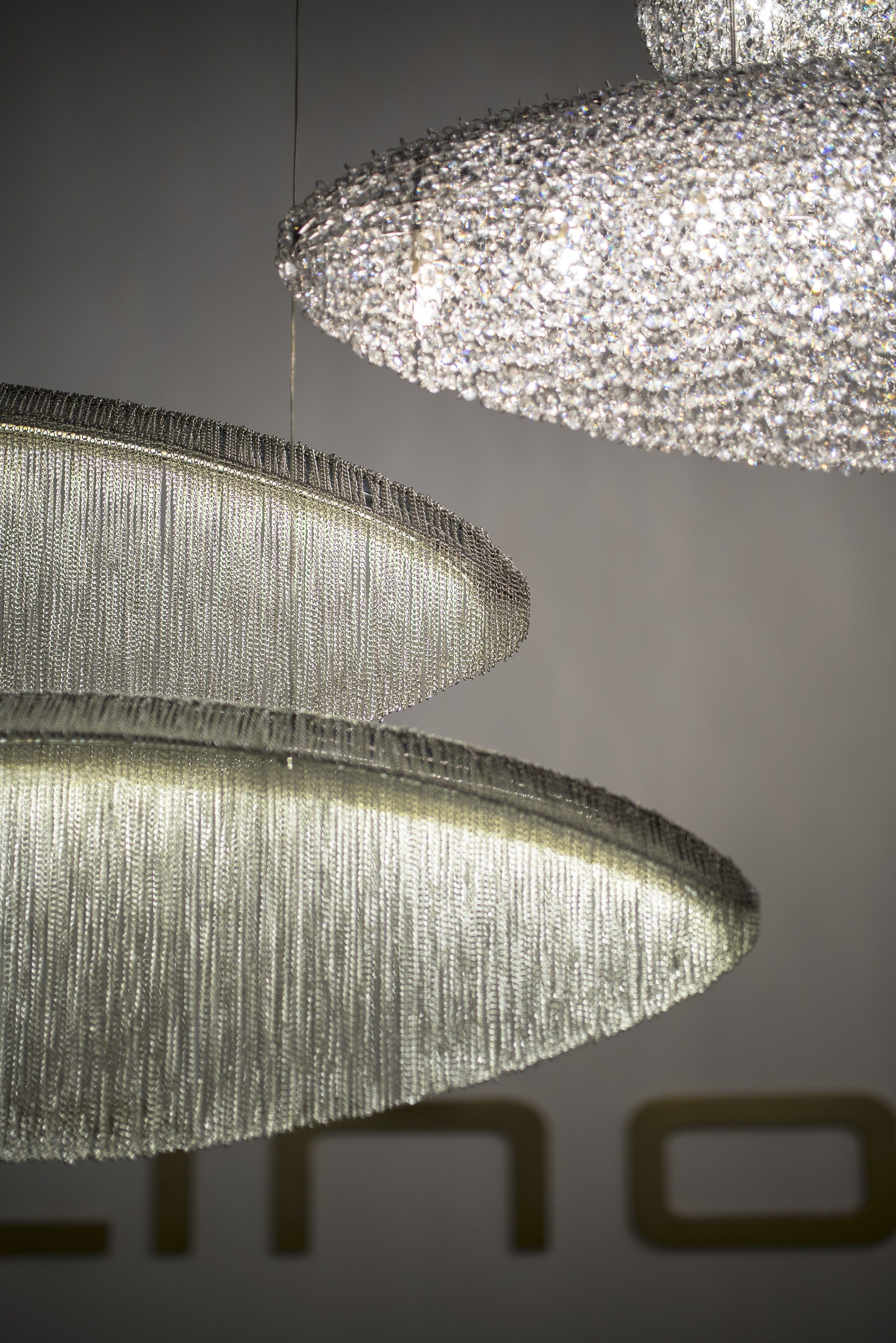 Silk Crystal And Steel Pendant Lamp By Manooi Pendant Lamp