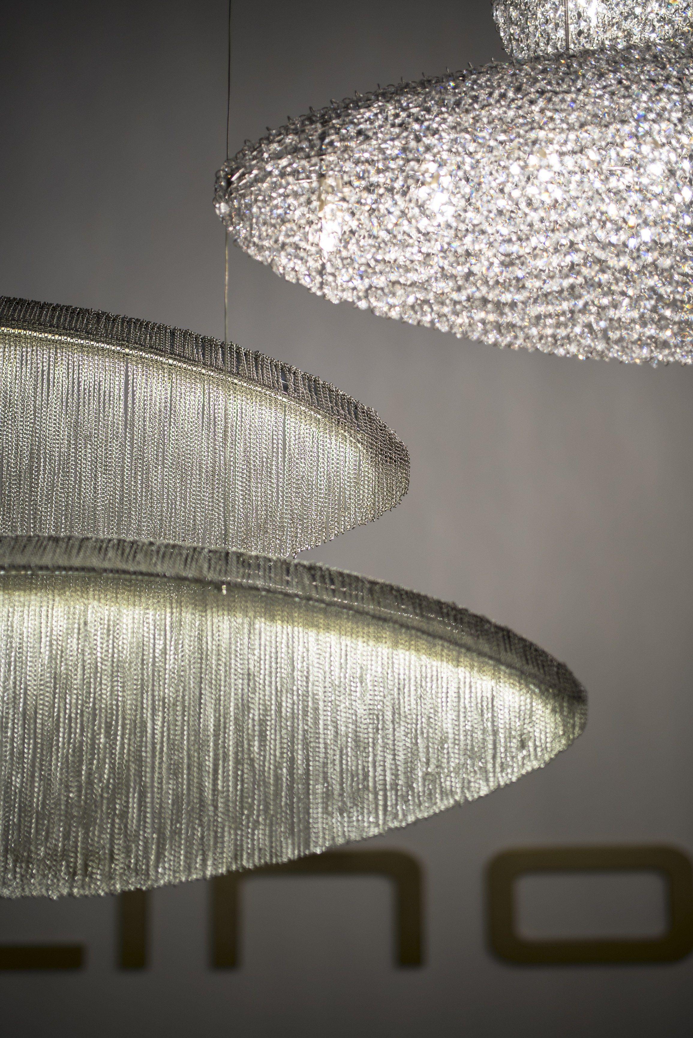 handmade lighting design. Handmade Crystal And Steel Pendant Lamp SILK - @manooi Lighting Design A