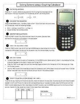 Solve Systems With A Graphing Calculator Calculator Systems Of