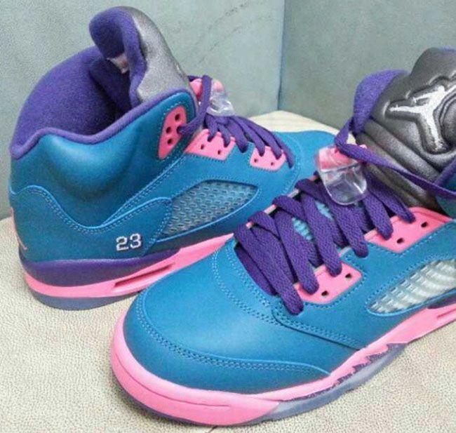 Air Jordan Retro 5 Blue And Pink
