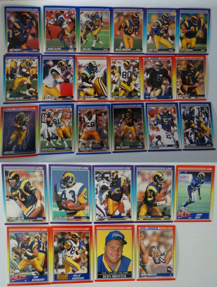 1990 score los angeles rams team set of 27 football cards