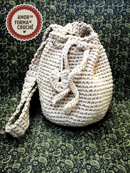 7ac3db973 Bolsa Saco Crochê com fio de malha | bolsa com fio de malha | Bags ...