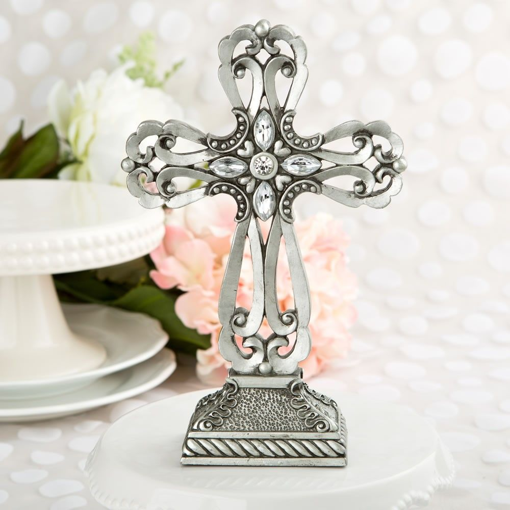 Large Pewter Cross Statue With Antique Accents | Christening ...
