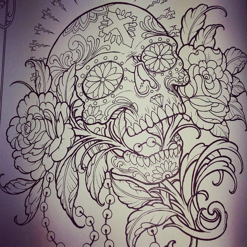 tatoo roses t te de mort plan te tatouage dessin pinterest tatoo tatoo rose and roses. Black Bedroom Furniture Sets. Home Design Ideas