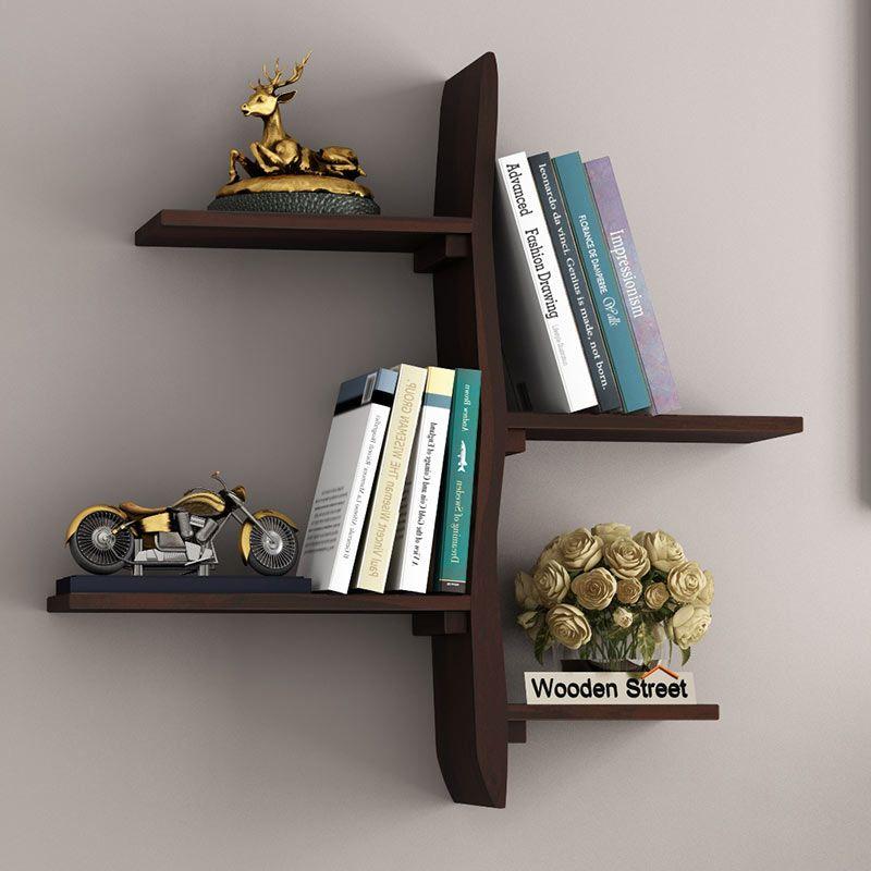 Buy Natura Wall Shelf Walnut Finish Online In India Wooden Street In 2020 Shelves Wooden Street Wall Shelves