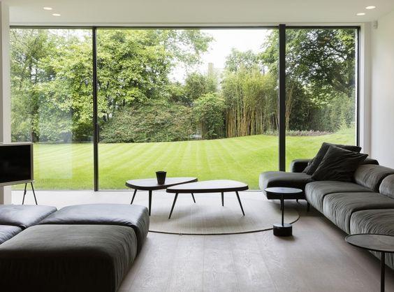 Ukkle - Salon TV avec baie vitrée extension maison Pinterest