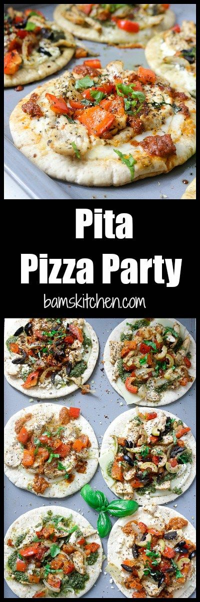DIY Pita Pizza Party/ Set out all of toppings and let your guests create their own UNIQUE PIZZA PIE/ http://bamskitchen.com