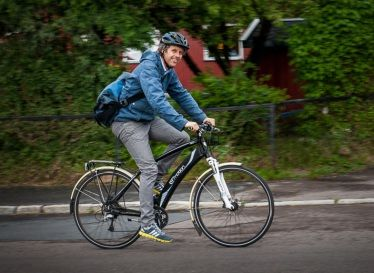 Electric bikes make people cycle longer and more often.                                    Gloucestershire Resource Centre http://www.grcltd.org/scrapstore/