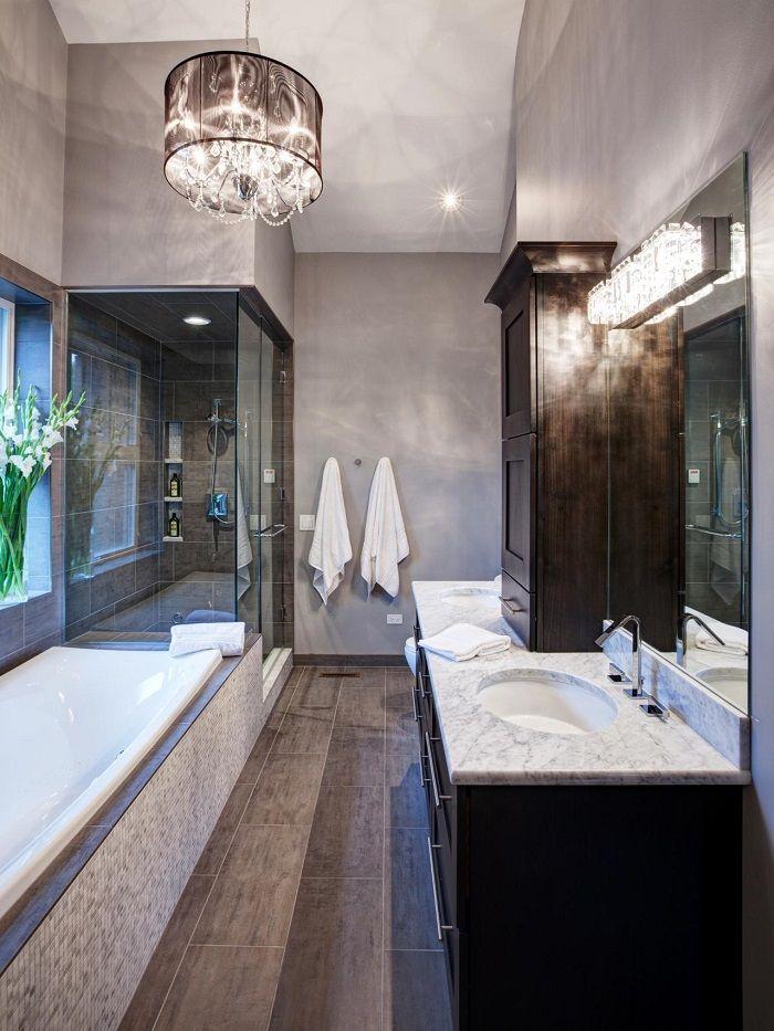 baera y ducha en el bao moderno gris