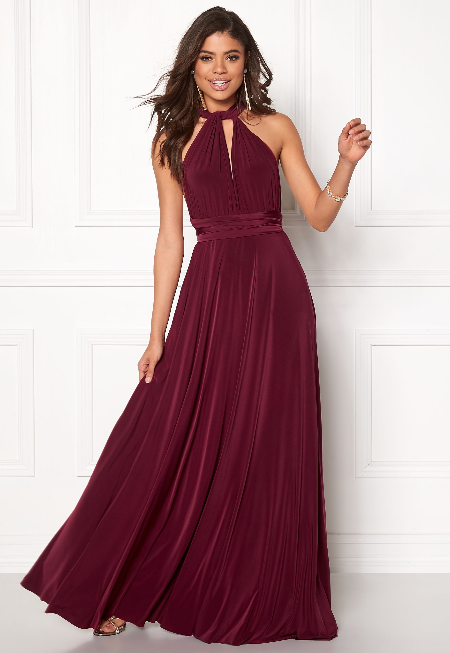 Goddiva Multi Tie Maxi Dress Berry - Bubbleroom