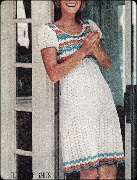 No.120 PDF Vintage Crochet Pattern Womens Empire Waist Puffed Sleeve ...
